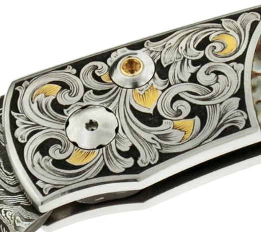 Knife Bolster Scrollwork with Gold Inlay and Background Removal